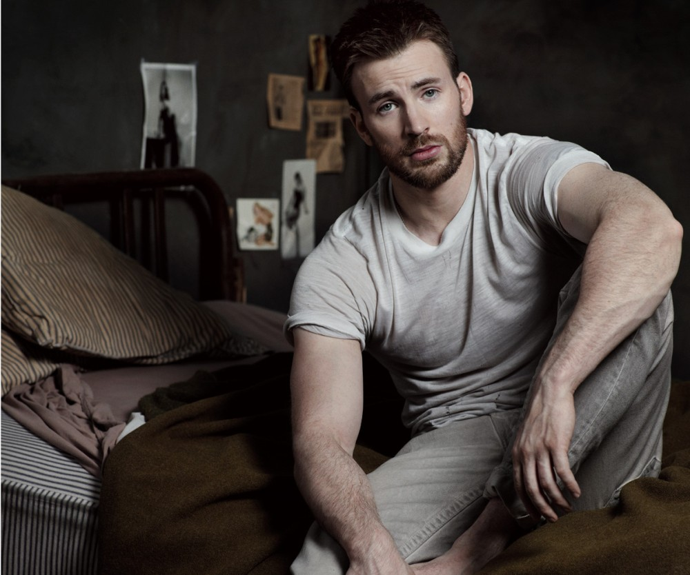 Chris Evans wears Chuck's Vintage, Los Angeles T-shirt; True Religion jeans. Beauty note: Tidy up sexy scruff with Harry's Winston Shave Set.